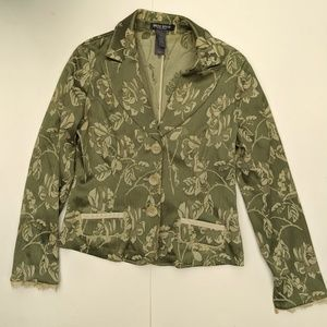 Bisou Bisou Green Tapestry Boho Jacket with Lace